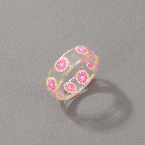 new cute style korean fashion acrylic lemon strawberry apple fruit ring NHGY348839's discount tags