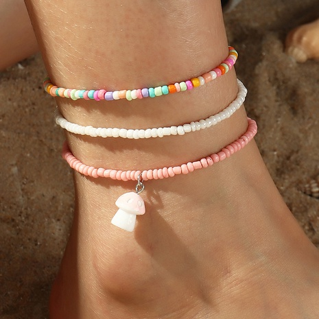 Fashion colored miyuki bead multi-layer pink mushroom anklet wholesale NHNZ348059's discount tags