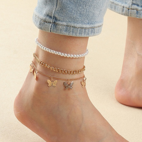 Tobillera de aleación de perlas de mariposa de moda al por mayor NHNZ348060's discount tags