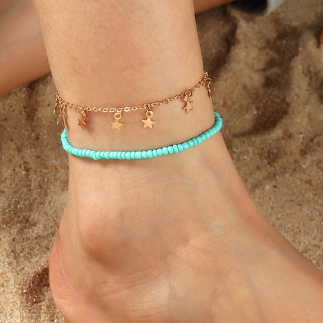 Fashion multi-layered five-pointed star alloy anklet wholesale NHNZ348064's discount tags