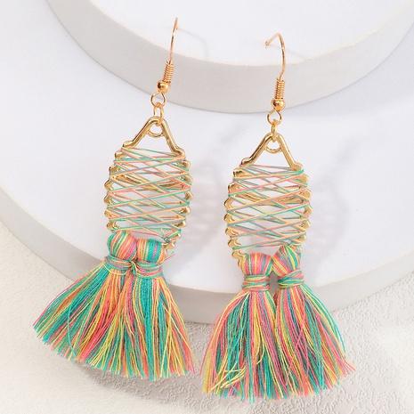 Bohemian alloy tassel pendant cotton fish-shaped earrings wholesale NHNZ348069's discount tags