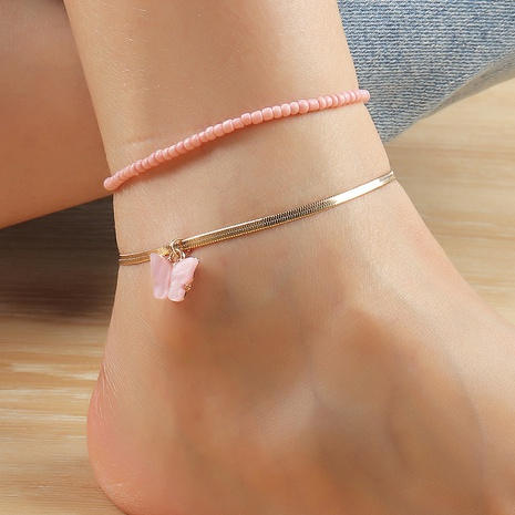 Fashion pink Miyuki bead alloy anklet wholesale NHNZ348071's discount tags