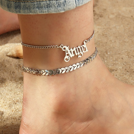 Fashion letters Angel alloy anklet wholesale NHNZ348072's discount tags