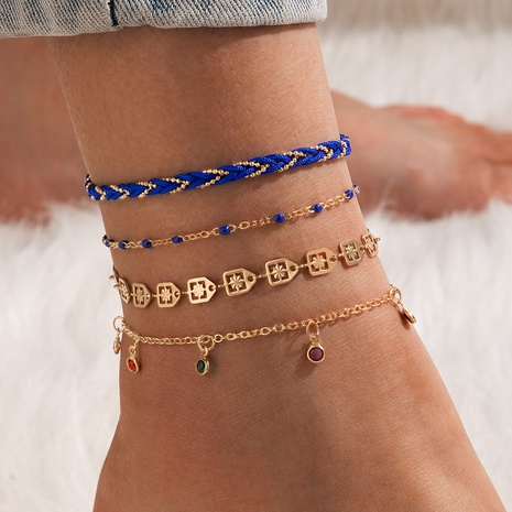 new Bohemia beach style hollow geometric color tassel cord anklet set  NHGY348835's discount tags