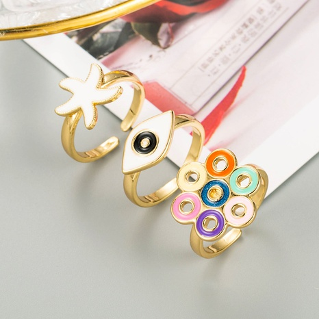 retro colorful dripping oil electroplating ring  NHLN348140's discount tags