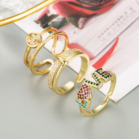 fashion copper inlaid zircon letter LOVE open ring  NHLN348141's discount tags