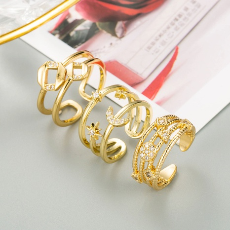 fashion geometric meteor moon shape copper inlaid zircon ring NHLN348142's discount tags