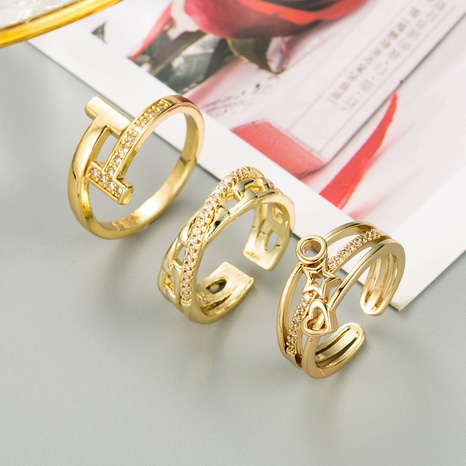 fashion copper gold-plated micro-inlaid zircon star heart-shaped ring  NHLN348144's discount tags