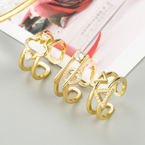 fashion geometric micro-inlaid zircon multi-layer ring  NHLN348145's discount tags