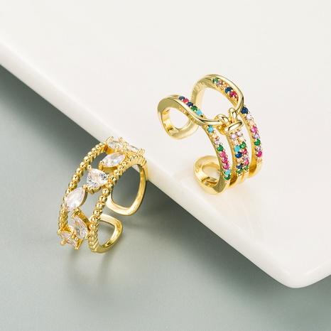 fashion copper micro-inlaid color zircon geometric open ring  NHLN348146's discount tags