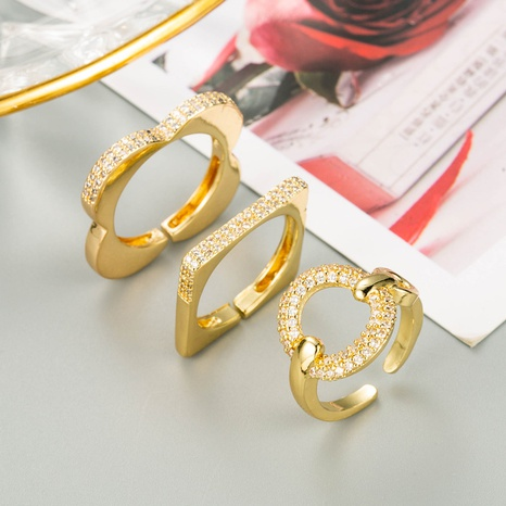 simple geometric copper gold-plated open ring NHLN348148's discount tags