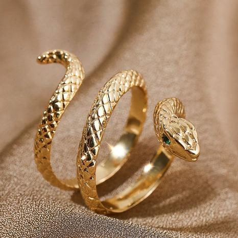 fashion copper inlaid zirconium zodiac snake open ring NHLA348151's discount tags