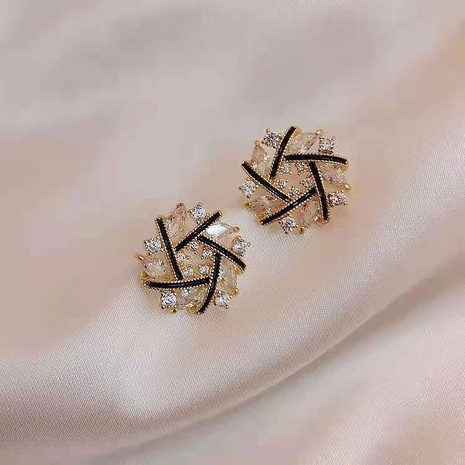 Fashion cross hovering rhinestone alloy earrings wholesale NHDQ348160's discount tags