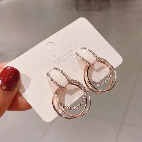 Fashion geometric circle rhinestone alloy earrings wholesale NHDQ348161's discount tags