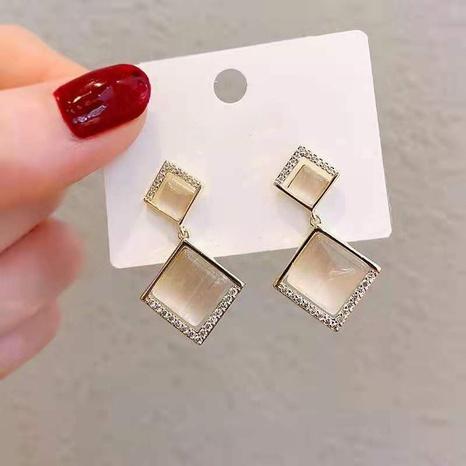 Fashion geometric long tassel alloy earrings wholesale NHDQ348162's discount tags