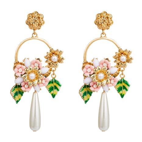 Pendientes de flores de diamantes de imitación de cristal con incrustaciones de hoja de aceite de gota de aleación redonda de plata S925 NHLN348837's discount tags