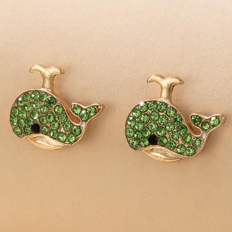 Boucles d'oreilles mignonnes de baleine verte en diamant NHGY348816's discount tags