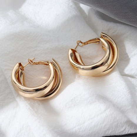 Fashion double-layer glossy alloy earrings wholesale NHHER347650's discount tags