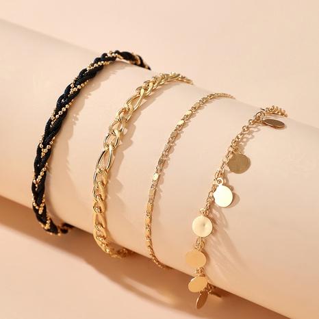 fashion new style thick chain disc multi-layer anklet 4-piece set NHGY347530's discount tags