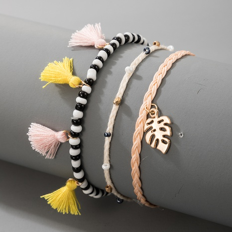 Bohemian Contrast Color Tassel Rice Beads Leaf Anklet 4-Piece Set NHGY347550's discount tags