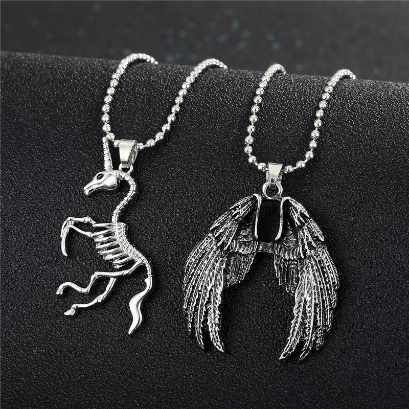 Fashion unicorn bone fossil demon wings alloy necklace wholesale NHGO348164