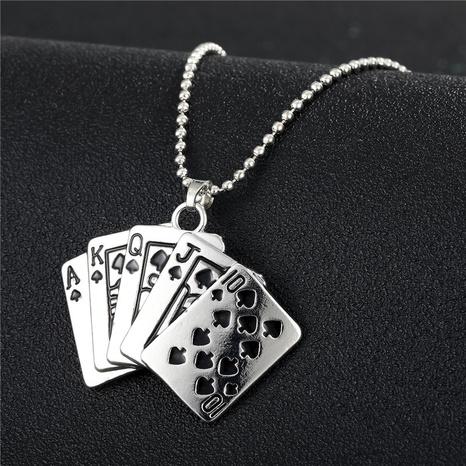 Collier en alliage de carte à jouer géométrique de mode en gros NHGO348165's discount tags