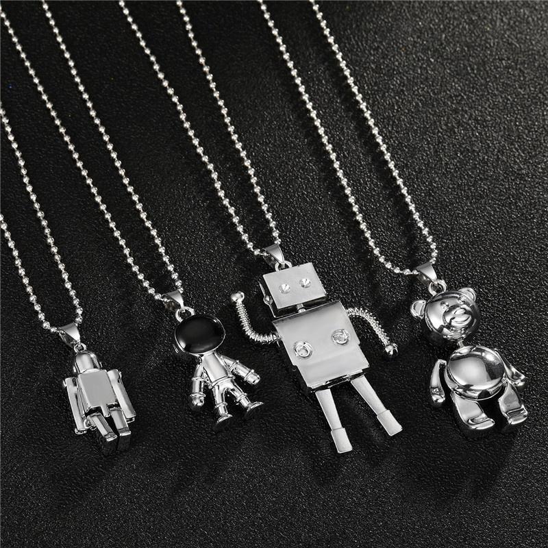 Fashion bear spaceman alloy necklace wholesale NHGO348181