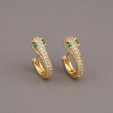 Fashion snake copper inlaid zircon earrings wholesale NHBU348278's discount tags