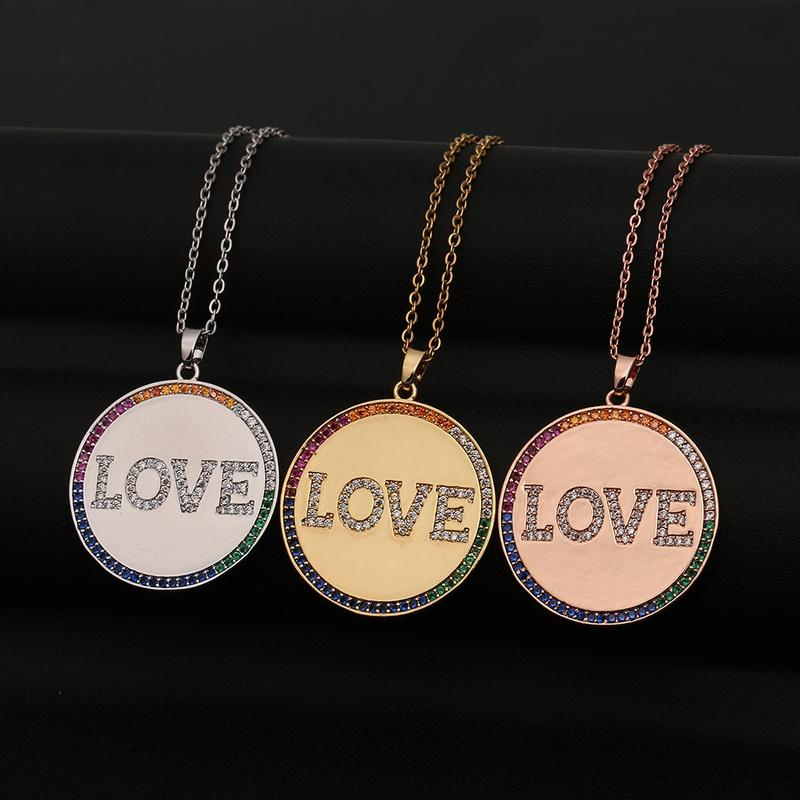 Fashion round LOVE letters copper inlaid zircon necklace wholesale NHBU348305