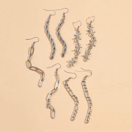 Ensemble de quatre pièces de boucles d'oreilles en alliage de chaîne de mode NHPV348368's discount tags