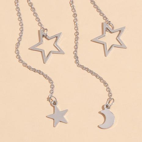 Boucles d'oreilles à chaîne longue simple étoile lune NHPV348374's discount tags