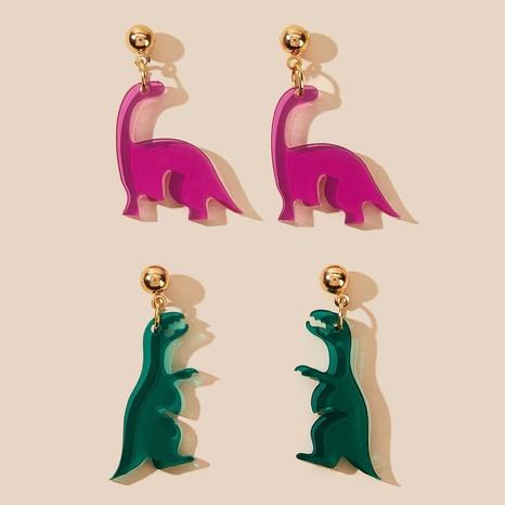 Ensemble de 2 boucles d'oreilles créatives mignonnes dinosaures transparentes NHPV348376's discount tags