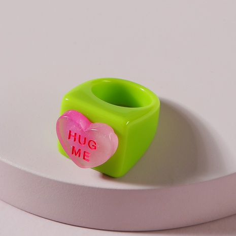 Fashion Candy Color Heart-Shape Resin Rings NHLU348384's discount tags