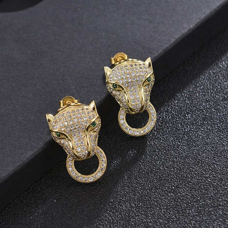 Fashion leopard head copper inlaid zircon earrings wholesale NHXIN348486's discount tags