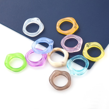Fashion candy color geometric resin rings wholesale NHJE348534's discount tags