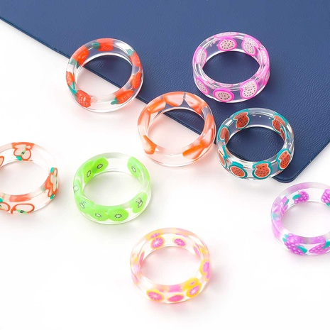 Fashion fruit transparent resin ring wholesale NHJE348536's discount tags
