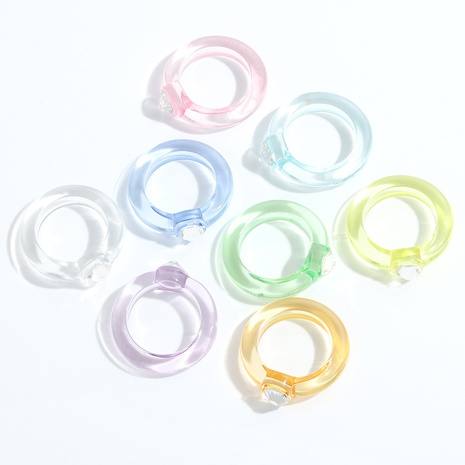 Fashion geometric rhinestone resin rings wholesale NHJQ348538's discount tags