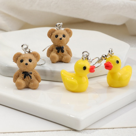 boucles d'oreilles en résine de dessin animé mignon canard ours en gros NHNZ348556's discount tags