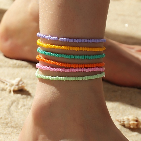 wholesale Bohemian ethnic style solid color bead anklet  NHNZ348559's discount tags