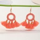 Bohemian long tassel color ring earrings wholesale NHNZ348575