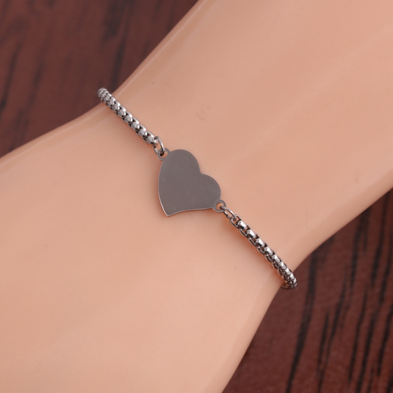 Fashion double hole peach heart  stainless steel bracelet NHYL348602