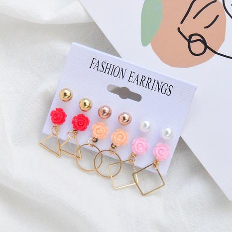 Boucles d'oreilles géométriques simples en alliage de résine de mode 6 paires en gros NHSD348651's discount tags