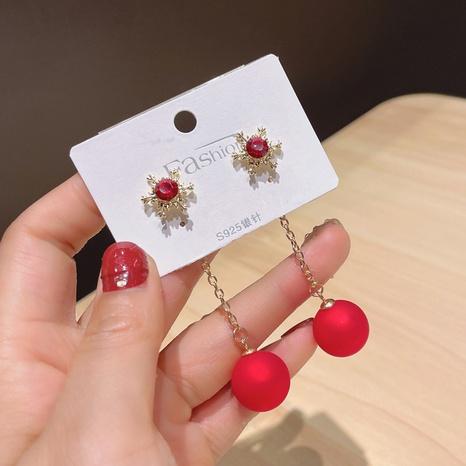 Boucles d'oreilles longues perles rouges simples flocon de neige NHDQ348659's discount tags
