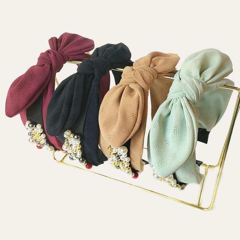 korean simple style nailed pearl rabbit ears headband  NHUX348690