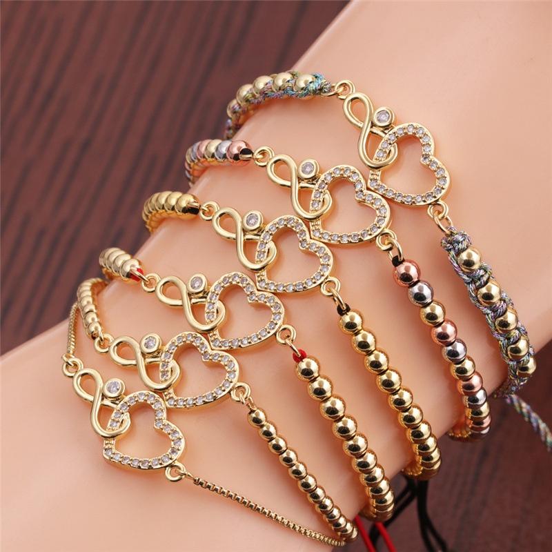 Ethnic style infinity heart shape zircon copper bracelet NHYL348702