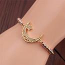 Fashion Moon Star Zircon Adjustable Bracelet  NHYL348704