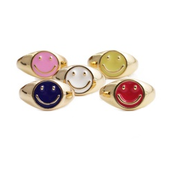 Fashion smile cute copper gold dripping oil ring wholesale NHYL348723