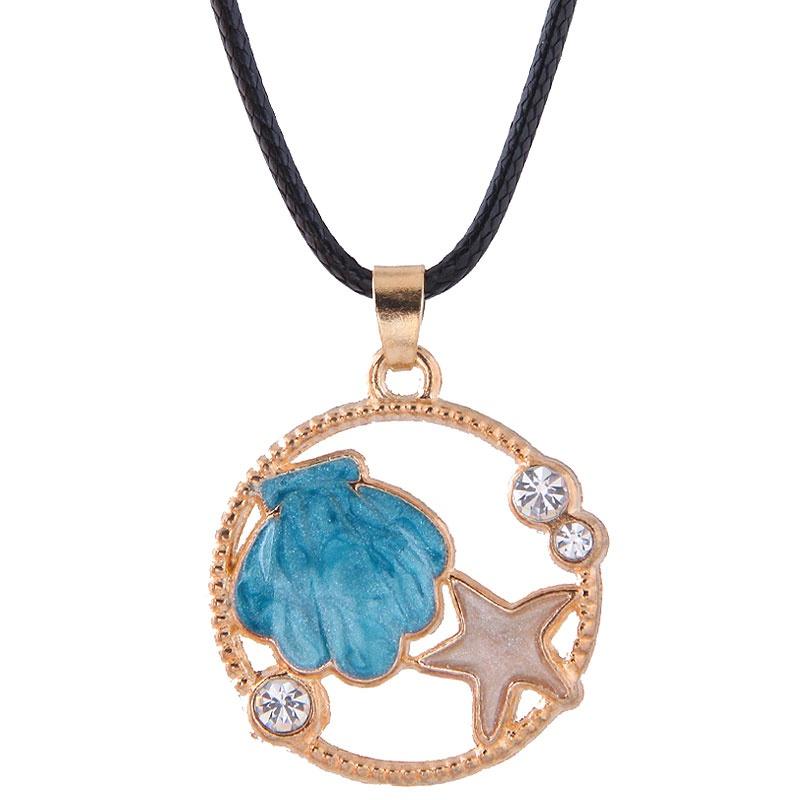 Korean Fashion Metal Simple Shell Starfish Wax Rope Necklace NHSC348901