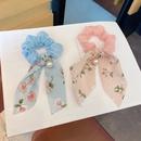 Korea new fashion style bow ribbon pearl silk hair scrunchies  NHCQ348971