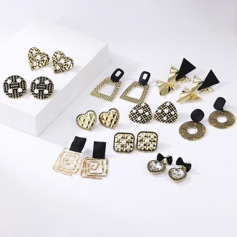 Boucles d'oreilles mates nacrées à motif léopard géométrique rétro NHAYN348977's discount tags